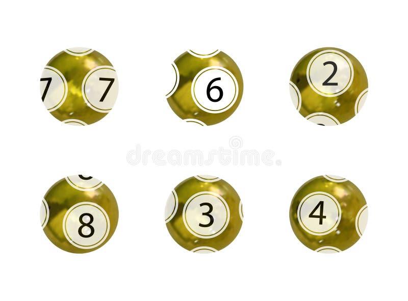 Ensemble de vecteur de boules d'or de loterie, boules brillantes réalistes d'isolement sur Backgrond blanc, jeu de jeu illustration stock
