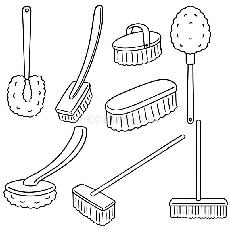 Ensemble de vecteur de brosse de toilette illustration libre de droits