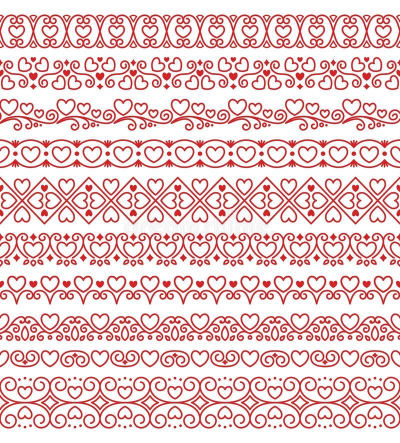 Ensemble de vecteur de brosses romantiques sans fin linéaires d'amour avec les coeurs rouges illustration de vecteur
