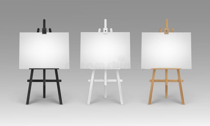 Ensemble de vecteur de Brown en bois Sienna Easels blanche noire avec la moquerie vers le haut des toiles horizontales vides vide illustration de vecteur