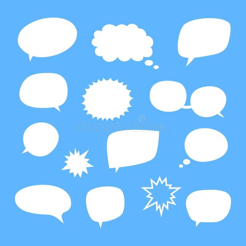 Ensemble de vecteur de bulles blanches vides de la parole de blanc illustration de vecteur