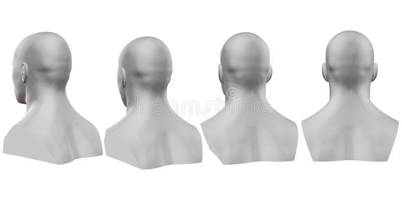 Ensemble de vecteur de bustes masculins d'isolement des mannequins sur le fond blanc 3d Buste masculin de différents côtés Vecteu illustration libre de droits