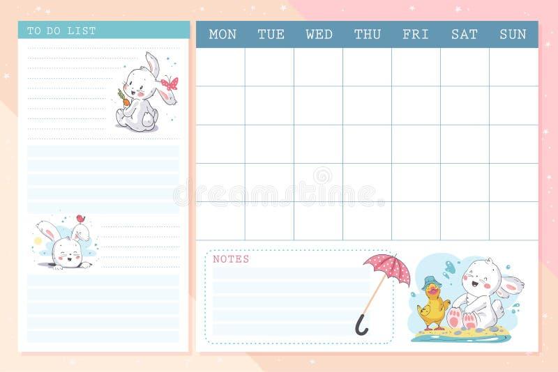 Ensemble de vecteur de calendrier mensuel de calibre de conception de page de planificateur pour des enfants avec le petit caract illustration stock