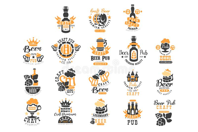 Ensemble de vecteur de calibres noirs et oranges originaux de logo de bi?re Th?me de boisson alcoolis?e Embl?mes pour l'emballage illustration libre de droits