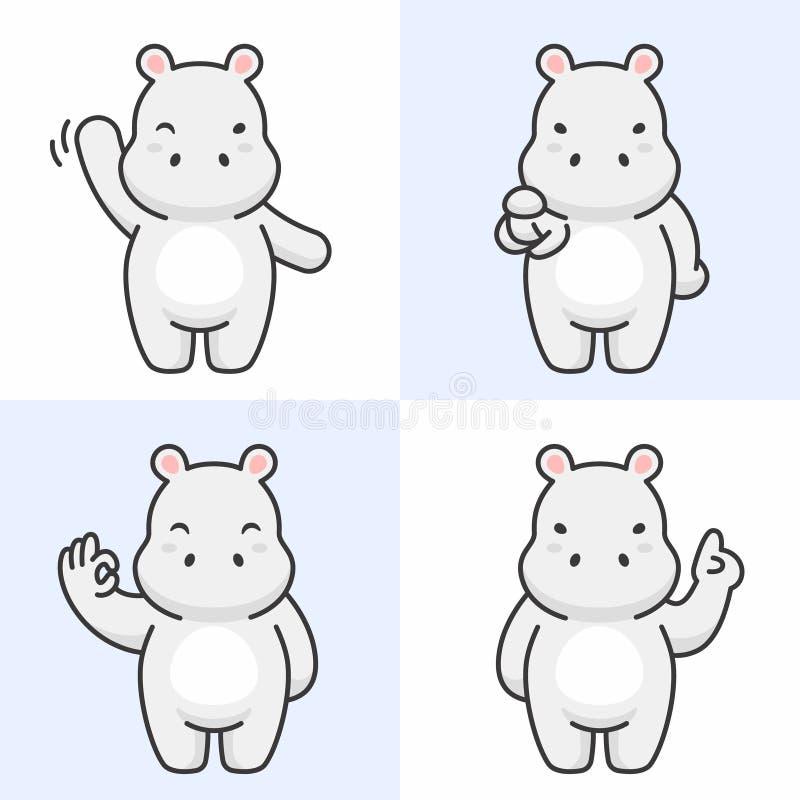 Ensemble de vecteur de caractères mignons d'hippopotame illustration stock