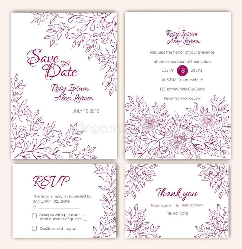 Ensemble de vecteur de cartes d'invitation avec des éléments de fleurs épousant le col illustration de vecteur