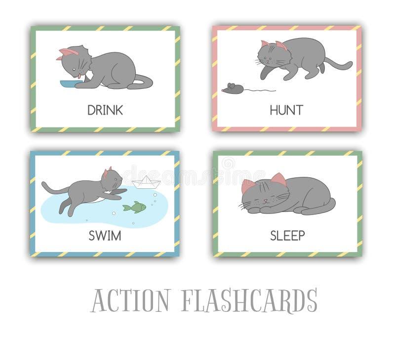Ensemble de vecteur de cartes flash d'actions avec le chat illustration de vecteur