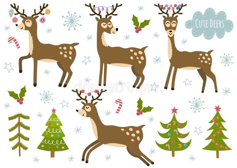 Ensemble de vecteur de cerfs communs et d'arbres de Noël d'isolement mignons illustration de vecteur