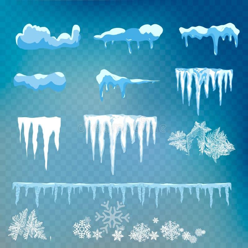 Ensemble de vecteur de chapeaux, de glaçons, de boule de neige et de congère de neige d'isolement sur le fond transparent bonhomm illustration stock