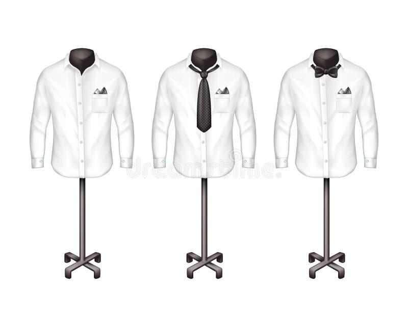 Ensemble de vecteur de chemises blanches avec le lien, noeud papillon sur le support, cintre, vue de face Atelier, boutique, vête illustration stock