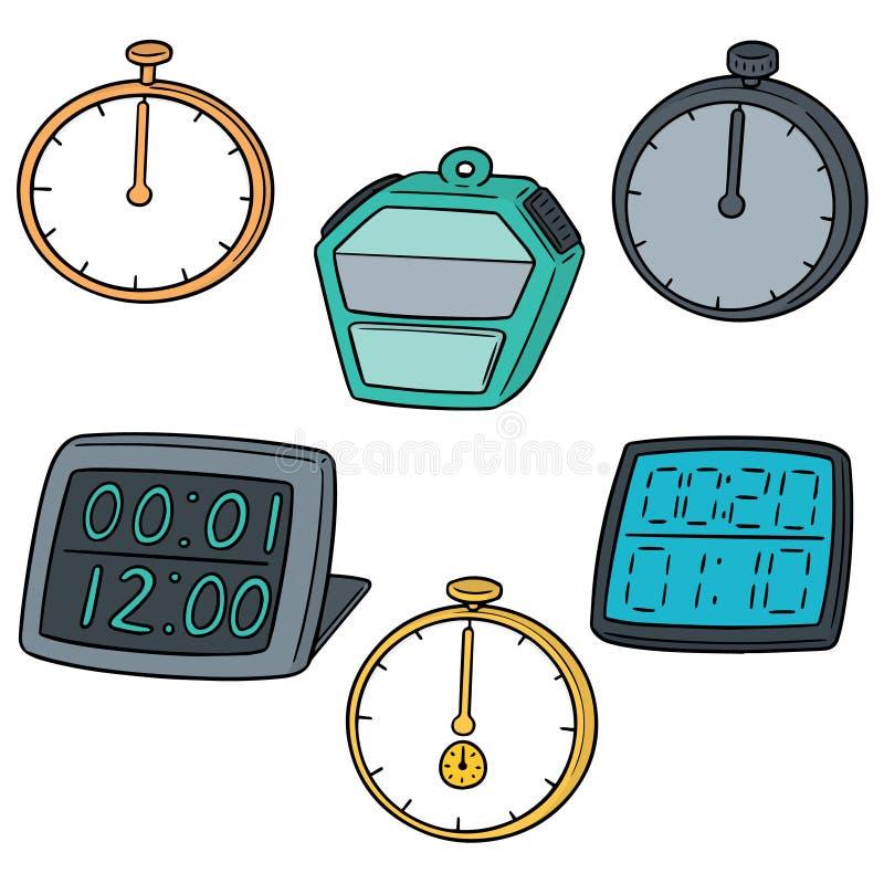 Ensemble de vecteur de chronomètre illustration stock