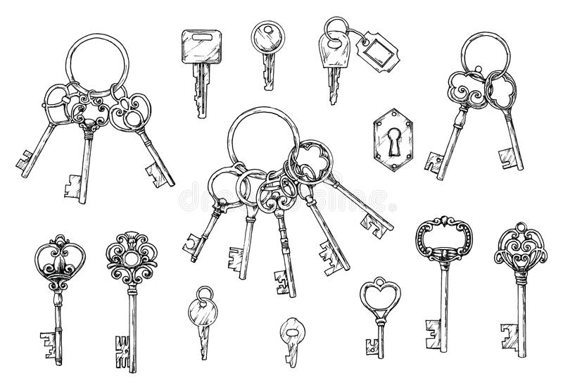 Ensemble de vecteur de clés antiques tirées par la main Illustration dans le style de croquis sur le fond blanc Vieille conceptio illustration libre de droits