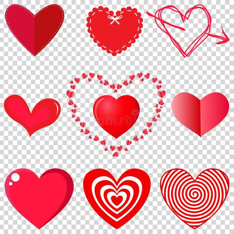 Ensemble de vecteur de coeur sur le fond transparent illustration de vecteur