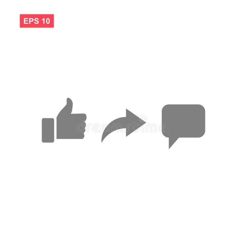 Ensemble de vecteur comme l'icône de social de media de commentaire de part illustration stock