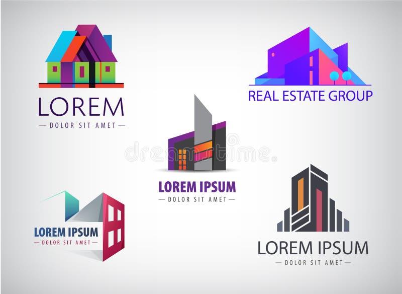 Ensemble de vecteur de conceptions multicolores de logo d'immobiliers pour l'identité visuelle d'affaires, bâtiment, icônes de pa illustration libre de droits