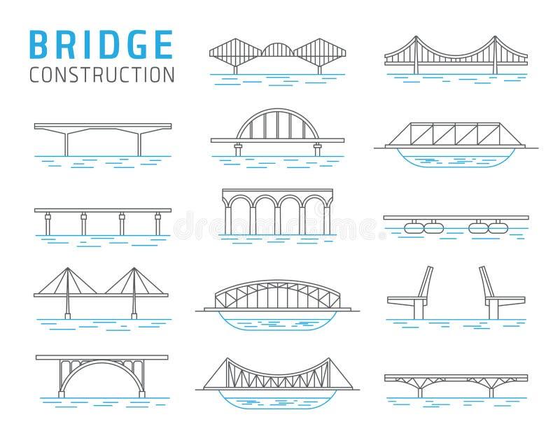 Ensemble de vecteur de constructions de pont illustration stock