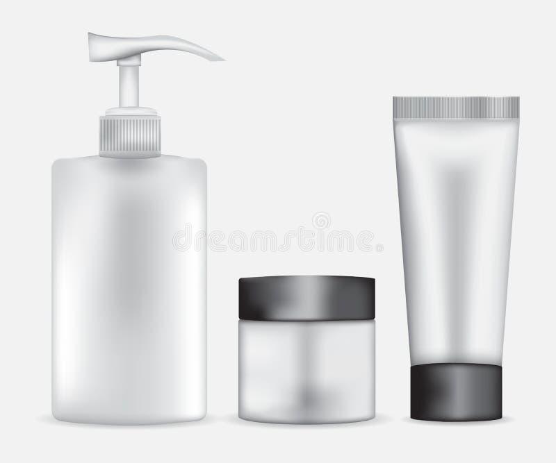 Ensemble de vecteur cosmétique de paquet illustration stock