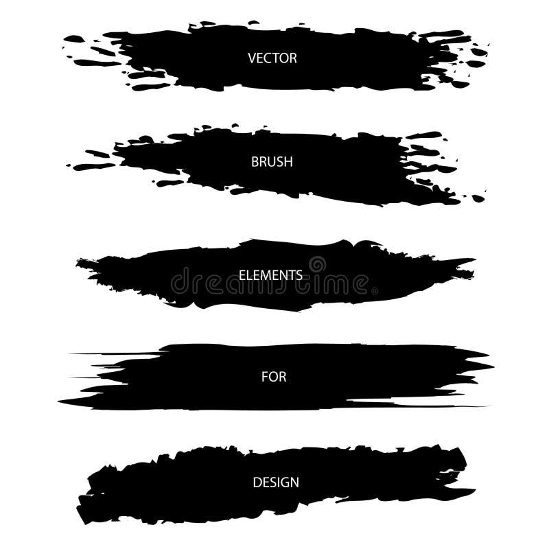 Ensemble de vecteur de courses texturisées noires de brosse d'isolement sur le CCB blanc illustration stock
