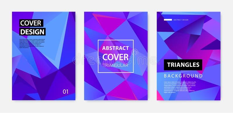 Ensemble de vecteur de couvertures géométriques abstraites, bannières, affiches, insectes, brochures Surface de cadre des textes  illustration stock