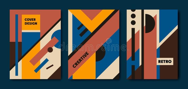 Ensemble de vecteur de couvertures géométriques de rétro bauhaus Utilisation pour des plaquettes, brochures, affiches, bannières  illustration stock