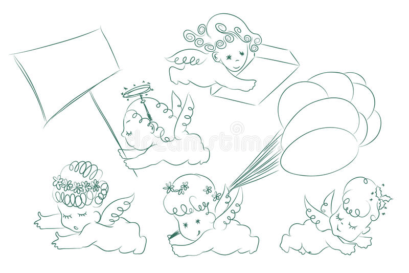Ensemble de vecteur Croquis des cupidons et des anges illustration de vecteur