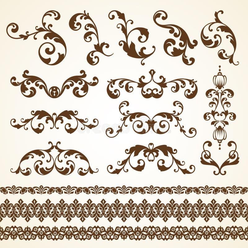 Ensemble de vecteur d'éléments calligraphiques de conception de décoration ornementale décorative de page de vintage pour l'invit illustration stock