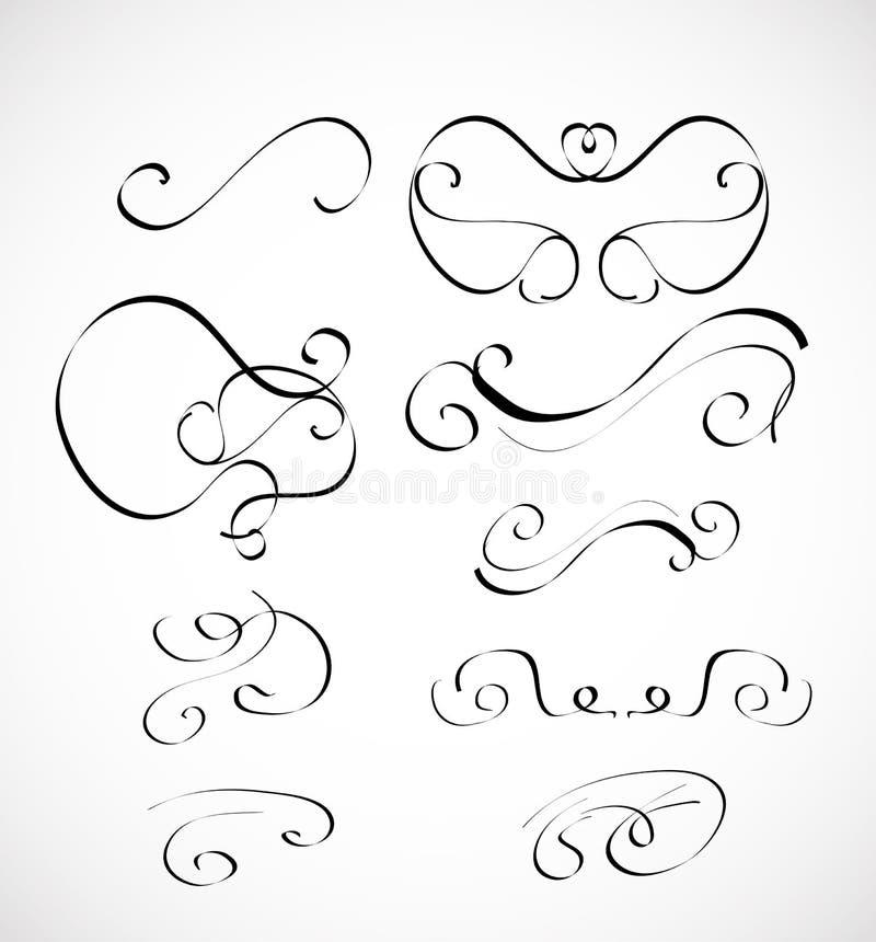 Ensemble de vecteur d'éléments calligraphiques de conception illustration de vecteur