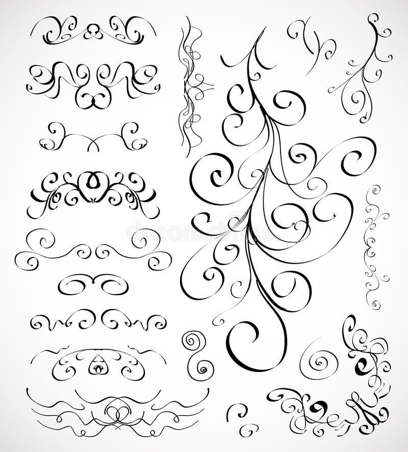 Ensemble de vecteur d'éléments calligraphiques de conception illustration libre de droits