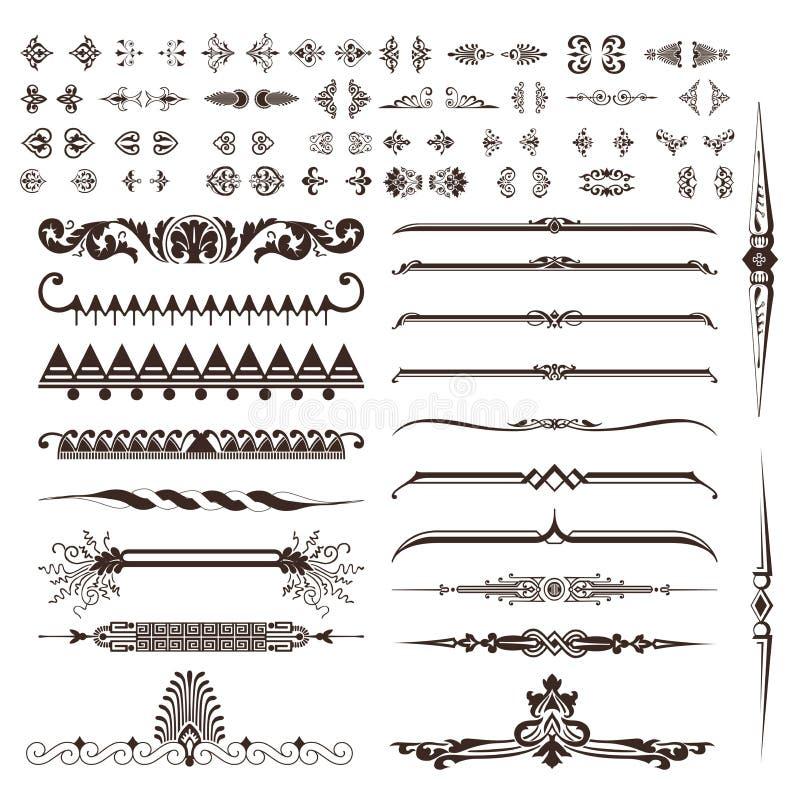 Ensemble de vecteur d'éléments calligraphiques de conception illustration stock