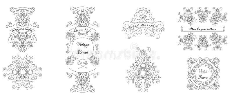 Ensemble de vecteur d'éléments calligraphiques de conception - cadres et labels illustration stock