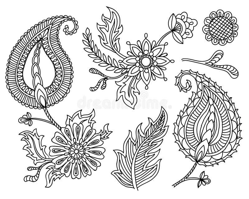 Ensemble de vecteur d'éléments colorés de Paisley Indien, motifs traditionnels persans sur le fond blanc Pour votre conception illustration libre de droits