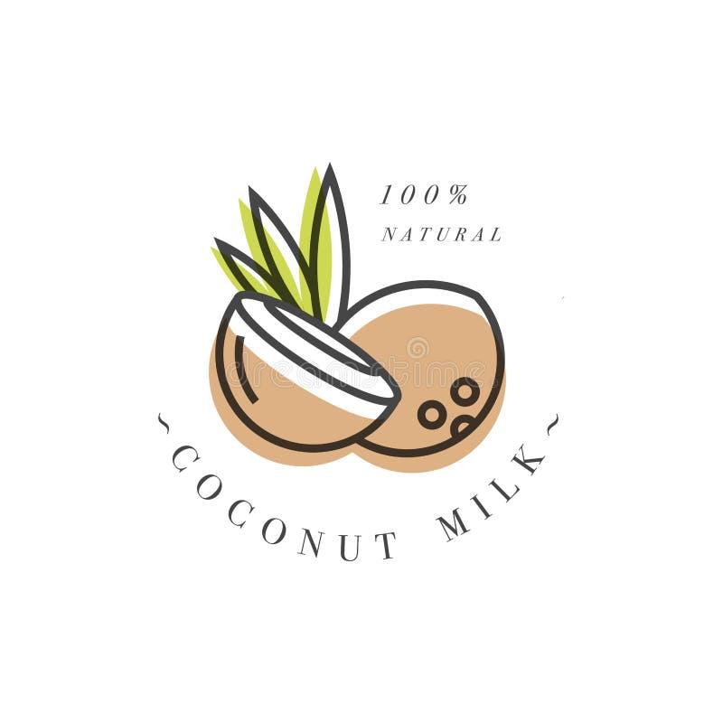 Ensemble de vecteur d'éléments de conception d'emballage et d'icônes dans le style linéaire - lait d'amande, de noix de coco, de  images stock