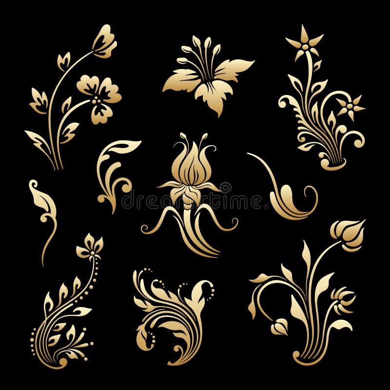 Ensemble de vecteur d'éléments décoratifs de vintage illustration de vecteur