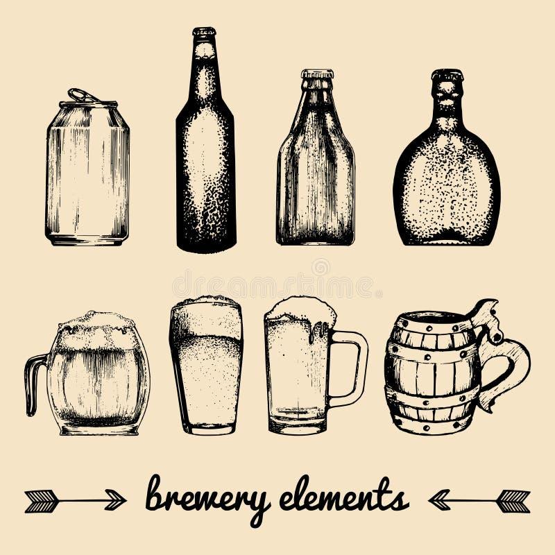 Ensemble de vecteur d'éléments de brasserie de vintage Collection avec des icônes de bière Barils, bouteilles, verres etc. illust illustration de vecteur