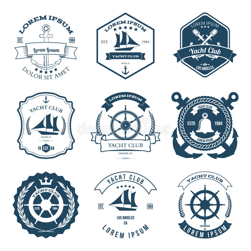 Ensemble de vecteur d'éléments de conception de labels de club de yacht illustration stock