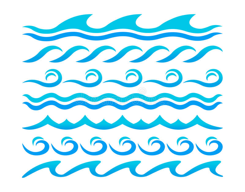 Ensemble de vecteur d'éléments de conception de vagues d'eau illustration libre de droits