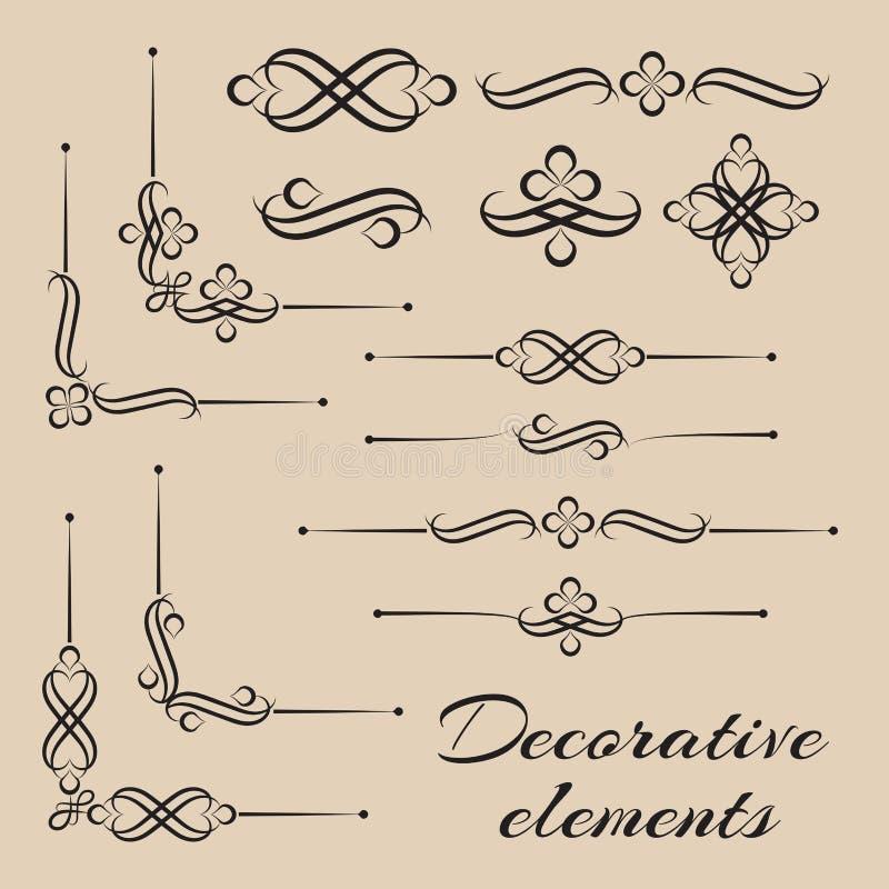 Ensemble de vecteur d'éléments et de décor décoratifs de page illustration libre de droits