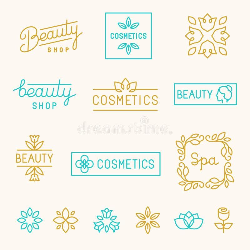 Ensemble de vecteur d'éléments et de logos linéaires de conception illustration stock