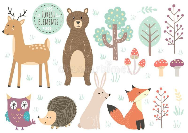 Ensemble de vecteur d'éléments mignons de forêt illustration stock
