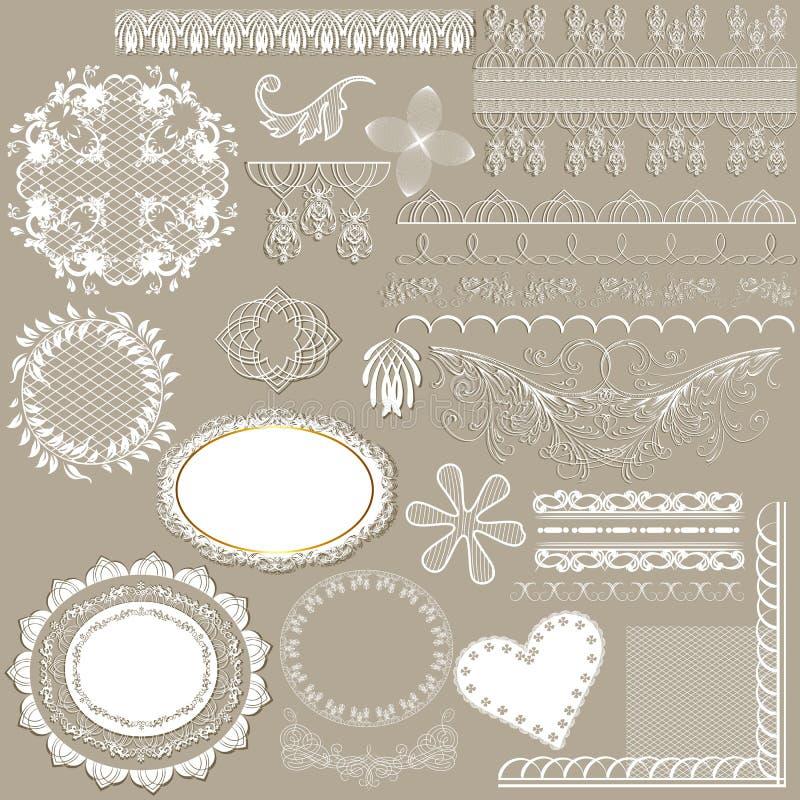 Collection de dentelle blanche en filigrane de vecteur pour la conception illustration de vecteur