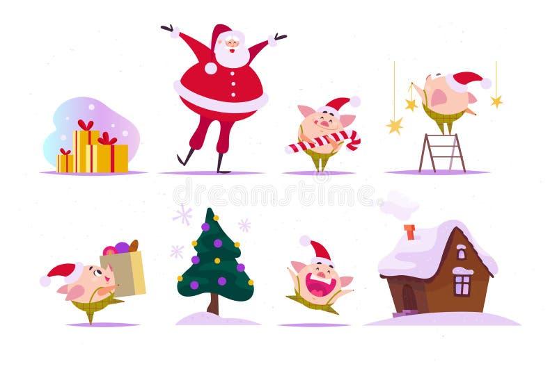 Ensemble de vecteur d'éléments plats de Noël - petit elfe drôle de porc dans le chapeau de Santa, Santa Claus heureuse, maison de illustration libre de droits