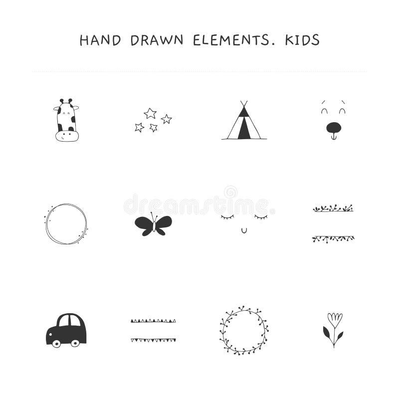 Ensemble de vecteur d'éléments tirés par la main pour des affaires relatives d'enfants illustration stock