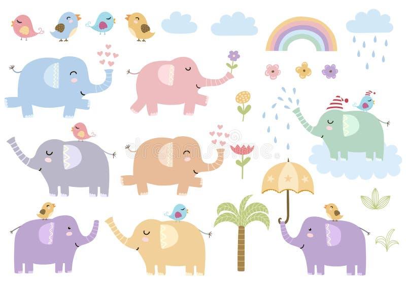 Ensemble de vecteur d'éléphants d'isolement mignons illustration stock
