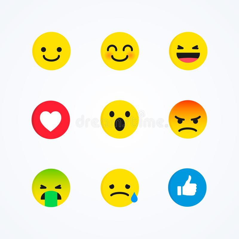 Ensemble de vecteur d'émoticône sociale de réactions de médias de style plat de conception illustration de vecteur