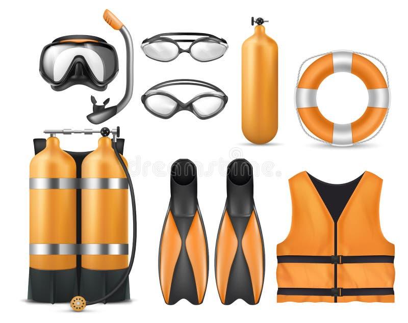 Ensemble de vecteur d'équipement de plongée, équipement de plongée illustration libre de droits