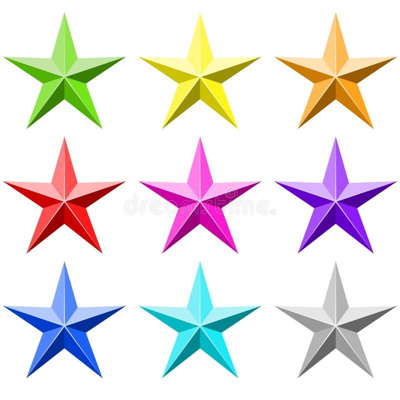 Ensemble de vecteur d'étoile de couleur illustration stock
