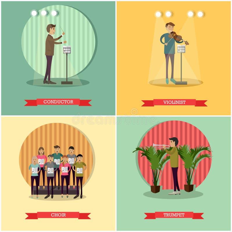 Ensemble de vecteur d'affiches de concept d'orchestre dans le style plat illustration libre de droits