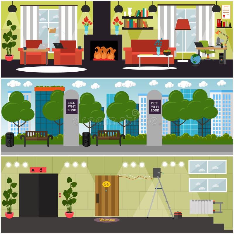 Ensemble de vecteur d'affiches intérieures de concept d'Internet, bannières illustration stock