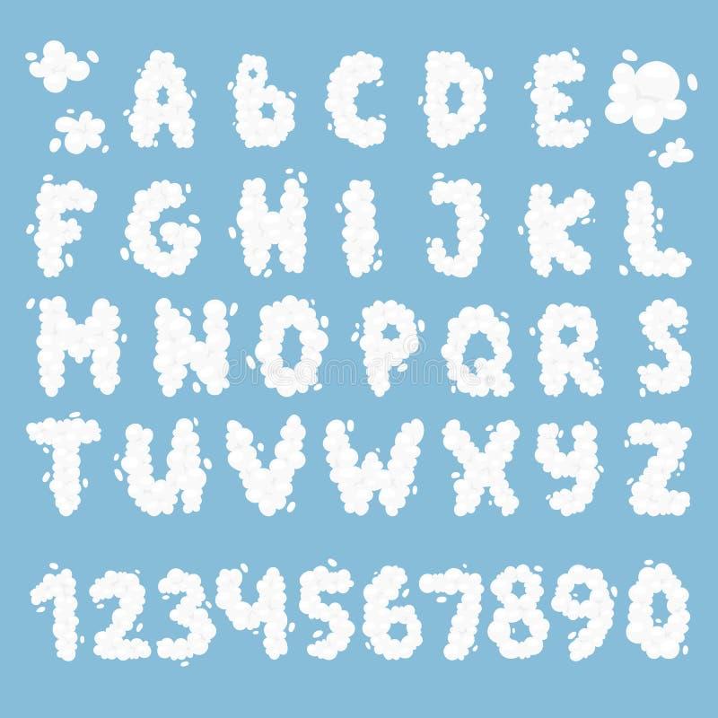 Ensemble de vecteur d'alphabet de nuage illustration libre de droits