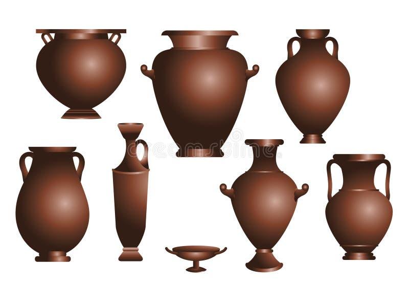 Ensemble de vecteur d'amphorae antiques illustration stock
